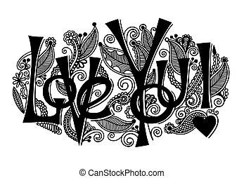 inscription, amour, lettrage, -, main, vous