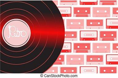 inscription, audio, vieux, contre, brillant, vendange, illustration, musical, cassettes., vecteur, hipster, retro, fond, multi-coloré, phonographe, enregistrement, analogue, vinyle