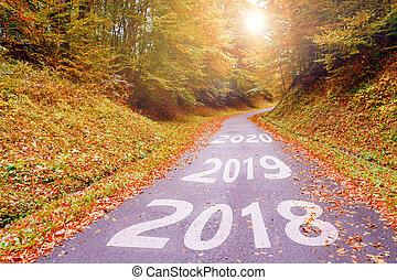 inscription, automne, bois, 2020, va, 2019, en avant!, 2018, route