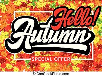 inscription, automne, thème, vecteur, conception, publicité, gabarit
