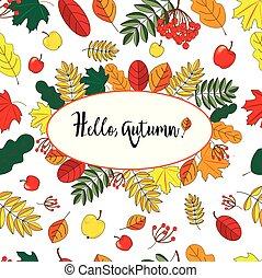 inscription:, bagas, olá, luminoso, maçãs, branca, colheita, folha, fallon, folhas, fundo, outono