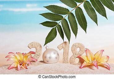 inscription, balle, feuille, sand., blanc, -, nombre, nouveau, 0, année, instead, 2018, fleurs, noël, embellished
