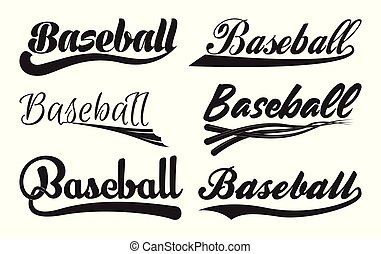 Inscription Baseball with swooshes