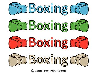 Inscription boxing gloves - Inscription boxing of different...