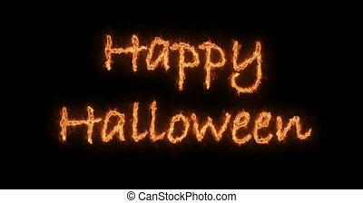 inscription, brûler, texte, halloween, animation, arrière-plan noir, heureux
