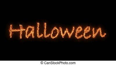 inscription, brûler, texte, halloween, animation, arrière-plan noir