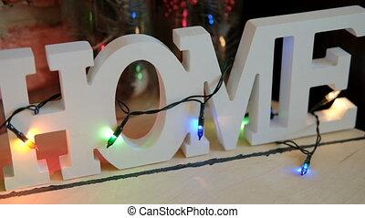 inscription, bulbs., plastique mot, grand, maison, blanc, décoré, 3d