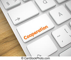 inscription, -, button., coopération, clavier, blanc, 3d.