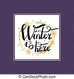 inscription, cadre, hiver, ici, calligraphic