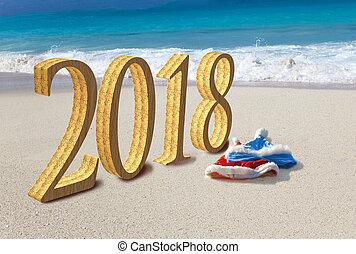 inscription, card., claus, deux, année, sable, 2018, santa, année, nouveau, casquettes, plage, heureux