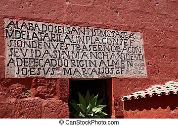 Monasterio de Santa Catalina - Inscription carved on a stone...