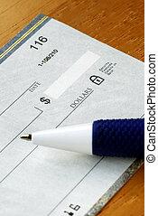 inscription chèque, payer, pour, les, note