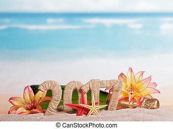 inscription, champagne, fond, sable, exotique, mer, décoré, fleurs, 2017