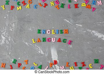 inscription, coloré, lettres, anglaise, bois