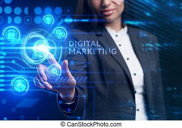 inscription:, concept., giovane, digitale, lavorativo, rete, futuro, schermo, tecnologia, virtuale, affari, vede, internet, uomo affari, marketing