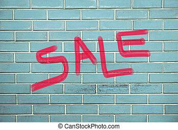 inscription, concept, mur, modèle, papier peint, vente, surface, fond, brique, concepteurs, rouges
