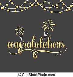 Inscription Congratulations in gold color, garland