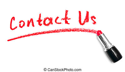 "Inscription ""Contact us"" lipstick. On a white background."