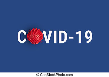 Inscription COVID-19 on blue background with red abstract virus strain model