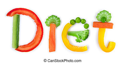 inscription diet of vegetables on a white background