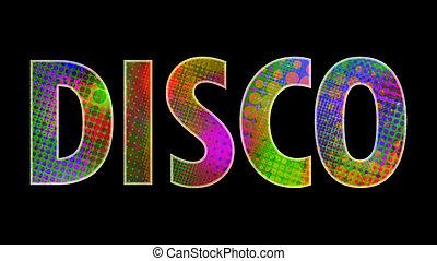 """disco - inscription """"disco"""" with multicolored lights"""