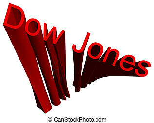 Inscription Dow Jones in the form of the volumetric, deformed, helicoid figure on a white background