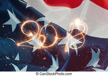 inscription, drapeau américain, 2018, toile de fond