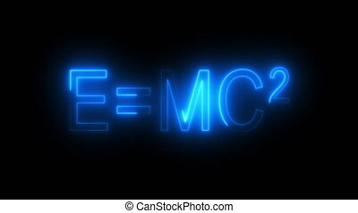 Burning inscription E mc2, computer generated. 3d rendering of Albert Einsteins physical formula. Scientific graphic backdrop