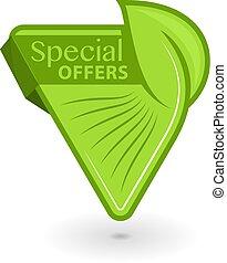 inscription, eco, étiquette, triangulaire, offres, vert, spécial