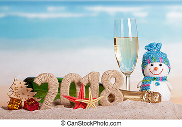 inscription, etoile mer, arbre, sand., verre, champagne, bonhomme de neige, dons, bouteille, année, nouveau, 2018, balle, noël
