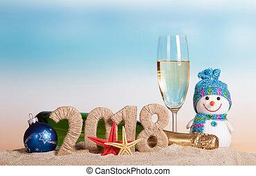inscription, etoile mer, bonhomme de neige, sand., champagne, bouteille verre, année, nouveau, 2018, balle, noël
