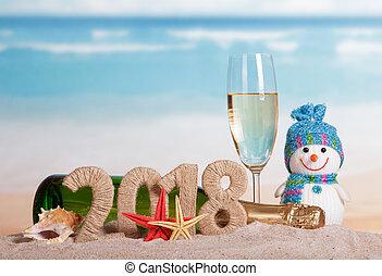 inscription, etoile mer, bonhomme de neige, sand., champagne, bouteille verre, année, nouveau, 2018, seashell