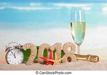 inscription, etoile mer, horloge, sand., champagne, bouteille verre, année, nouveau, 2018