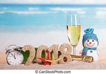 inscription, etoile mer, horloge, sand., reveil, verre, champagne, bonhomme de neige, bouteille, année, nouveau, 2018