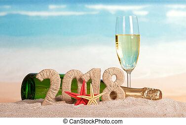 inscription, etoile mer, sand., champagne, bouteille verre, année, nouveau, 2018