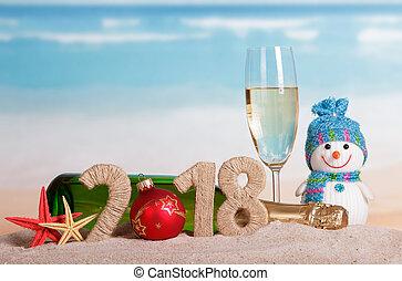 inscription, etoile mer, verre, sand., nombre, nouveau, champagne, bonhomme de neige, bouteille, année, instead, 2018, orbe, 0