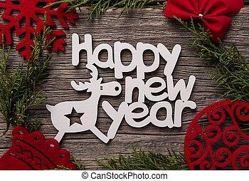 inscription, fête, bois, arrière-plan., year., nouveau, composition, heureux