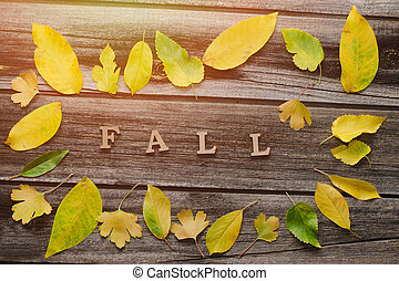 Inscription Fall on a wooden background, frame of yellow leaves