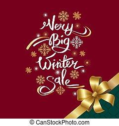 inscription, flocons neige, très, grand, vente, hiver