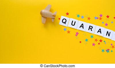 inscription, fond, fin, sur, quarantine., jaune, quarantaine
