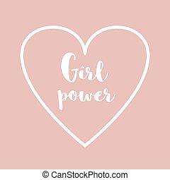 Inscription girl power of light pink background.