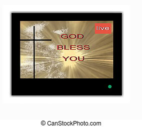 Inscription God bless you on the TV screen