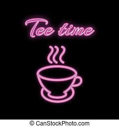 inscription, grandes tasses, rose, espace, simple, thé, résumé, enseigne, chaud, illustration, incandescent, pourpre, clair, vecteur, arrière-plan., délicieux, temps, icône, blanc, copie, néon