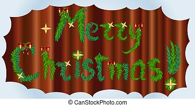 inscription Happy Christmas from fir branches decorated with stars and red bows on a wooden background in a frame of snow