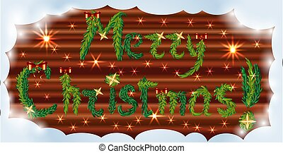 inscription Happy Christmas from fir branches decorated with stars and red bows on a wooden background with sparkles in a frame of soft snow
