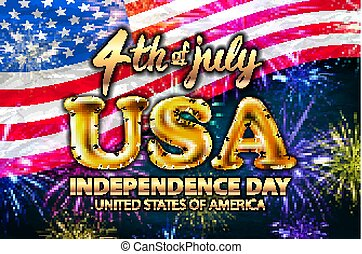 Inscription Happy independence day on usa flag. gold balloon...