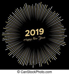 Inscription Happy New Year 2019 with firework