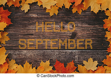 inscription Hello September on a wooden background with a frame of autumn maple leaves
