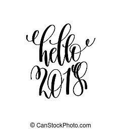 inscription, hiver, lettrage, salutation, main, 2018,...