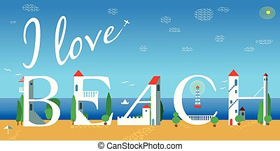 Inscription I love beach. Vector Illustration